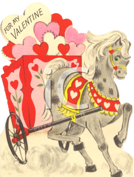 0511-1001-0122-0867_Vintage_Valentine_Card_Showing_a_Horse_Pulling_a_Cart_of_Hearts_clipart_image.jpg